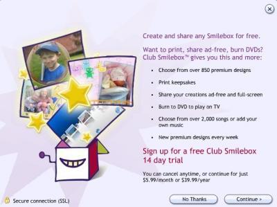Приобретение подписки на Smilebox